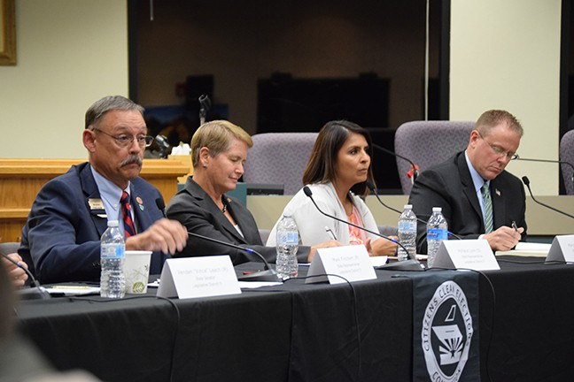 House candidates, from left to right: Incumbent Mark Finchem, Hollace Lyon., Marcela Quiroz and Bret Roberts speaking at a recent Legislative District 11 forum.