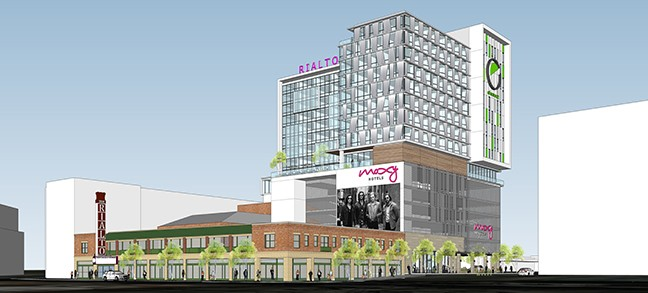 Rendering of the proposed 16-floor hotel project.