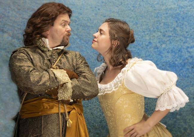 Ryan Parker and Holly Griffith as Benedick and Beatrice.