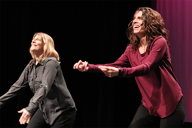 Shari Brown, left, and Melissa Brown practicing for the Dancing with the Deaf Stars competition next week at the Arizona State Schools For The Deaf And The Blind.