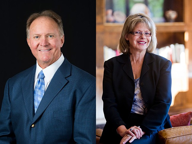 Pima County Supervisors Steve Christy, left, and Ally Miller, right, announced their withdrawal from the county's Community Law Enforcement Partnership Commission following disagreement on the board of supervisors over the commission's operation.