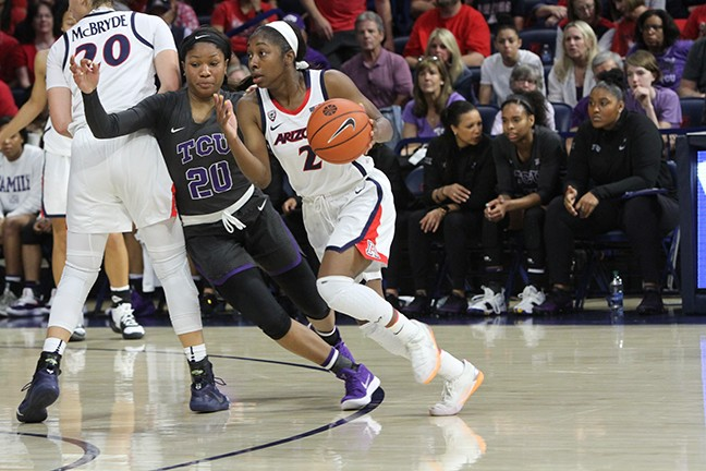 Aari McDonald scored 19 points in Arizona's 59-53 win over TCU in Wednesday's WNIT semifinal game at McKale Center. - CHRISTOPHER BOAN