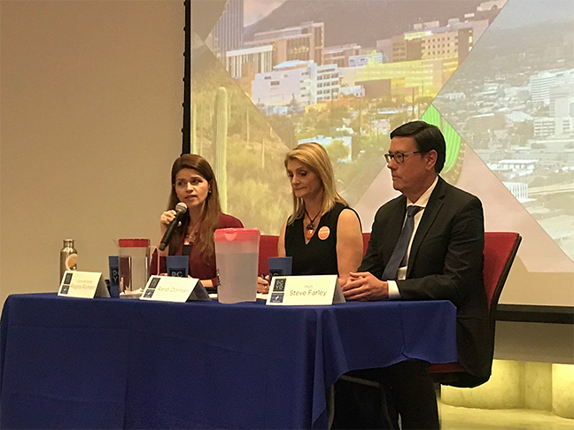Left to right: Regina Romero, Randi Dorman and Steve Farley answer questions during a recent forum on the UA campus.