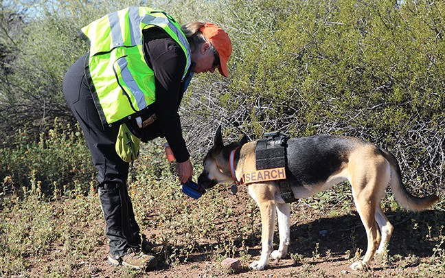 Kathy Albrecht and 3-year-old German Shepard Mesa, who were part of six teams that took part in February's search.