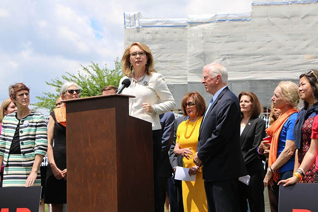 Former Arizona Rep. Gabrielle Giffords joined Democratic congressional leaders at a Capitol rally June 20.