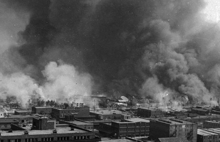 Tulsa Race Massacre, in flames, 1921 - COURTESY OF WIKIMEDIA