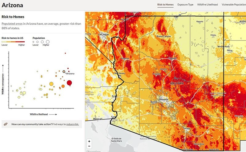 A new tool from the U.S. Forest Service shows that Arizona homes and businesses are at relatively higher risk of wildfire damage than communities in msot states. (Photo courtesy U.S. Forest Service)