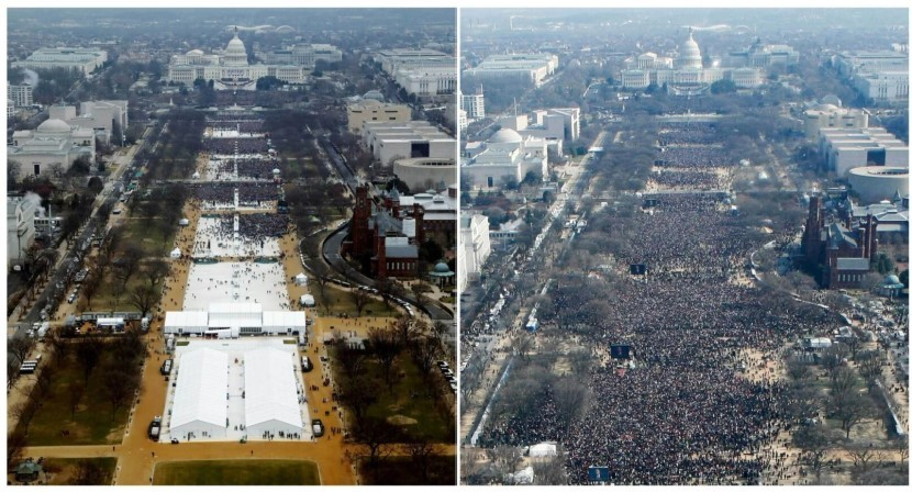 A combination of photos taken at the National Mall shows the crowds attending the inauguration ceremonies to swear in Trump, left, in 2017 and President Barack Obama in 2009. (Reuters Staff)