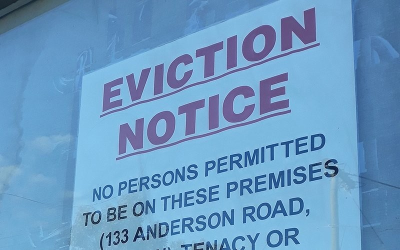 Experts say signs like this one could become more common this fall, as state and national moratoriums on evictions in the face of COVID-19 are lifted. - PHOTO BY DAVID JACKMANSON/CREATIVE COMMONS