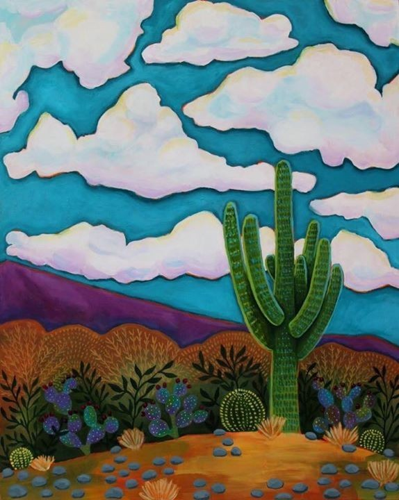 Saguaro, by Regina Lord is one one the paintings to be featured at the Galleria's exhibition. Lord is a local artist.