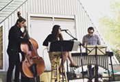 Gabrielle Pietrangelo Trio in the courtyard at the Mercado