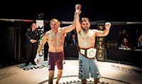SLATER LBS - Andrew Perez (right) after defeating Thom Ortiz at World Fighting Federation's WFF 37 on Feb. 10. The judges unanimously decided Perez was the winner, retaining his lightweight championship belt.