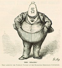 "ILLUSTRATION BY THOMAS NAST - ""The 'BRAINS' that achieved the Tammany victory at the Rochester Democratic Convention."""
