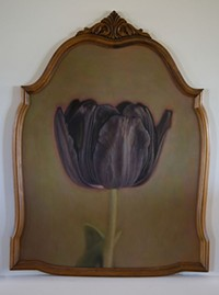 "COURTESY - Kate Breakey, ""Patricia's Tulip,"" hand-colored photograph in vintage mirror frame, - from Black Tulips, On display through April 30."