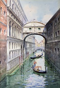 """BEQUEST OF ALMA A. KONIGSLOW, COURTESY OF TUCSON MUSEUM OF ART. - """"Venice Bridge of Sighs"""" by Cesare Mainella (Italian, 1885-1975), gouche, not dated."""