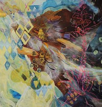 """Upside Down Mountain, #1"" acrylic paint, cut paper, spray  paint, paint pen on canvas, 2014, 4ft X4ft"