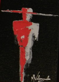 "PHOTO COURTESY OF SIMON GALLERY - Young Guns #1, Manny Valenzuela, 7"" x 5"", Acrylic on canvas"